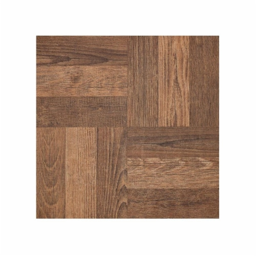 Portfolio 12x12 2.0mm Self Adhesive Vinyl Floor Tile - Walnut Parquet - 9 Tiles/9 sq. ft. Perspective: front