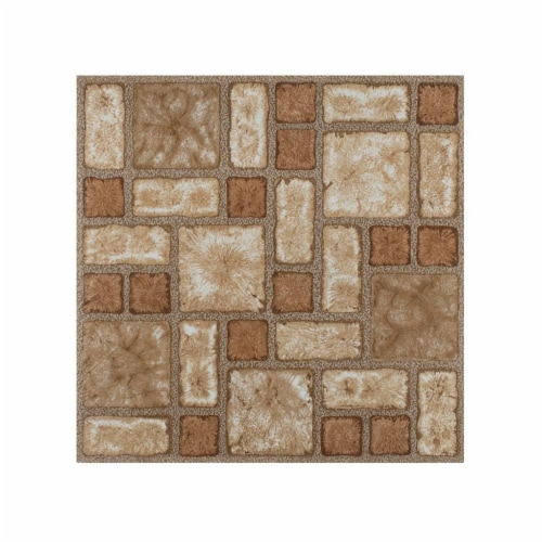 Portfolio 12x12 2.0mm Self Adhesive Vinyl Floor Tile - Cobble Mosaic - 9 Tiles/9 sq. ft. Perspective: front