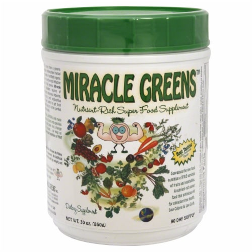 Miracle Greens Nutrient Rich Super Food Supplement Perspective: front