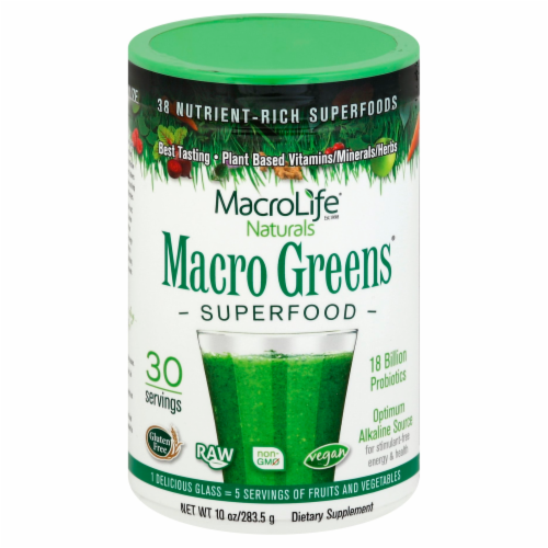 Macrolife Naturals Macro Greens Superfood Supplement Perspective: front