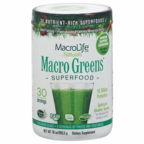 Macrolife Naturals Macro Greens Superfood Supplement Perspective: front