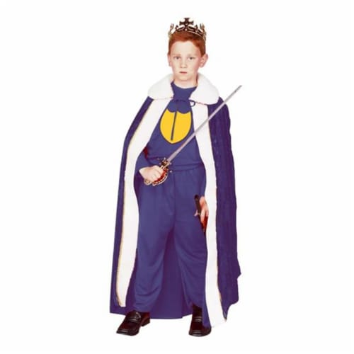RG Costumes 90055-BL-M Blue Velvet Kings Robe Costume - Size Child-Medium Perspective: front