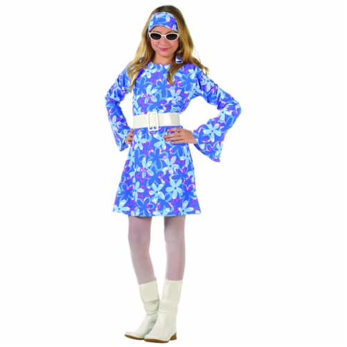 RG Costumes 91270-XL Large Child 70s Fever Dress - Blue Perspective: front