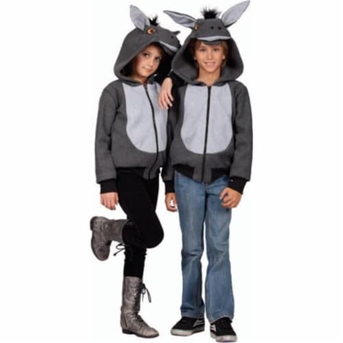 Rg Costumes 40528-S 100 Acres Donkey Hoodie Child Costume - Grey, Small Perspective: front