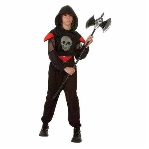 RG Costumes 90144-L Fatal Warrior Glow Skull Costume - Size Child-Large Perspective: front