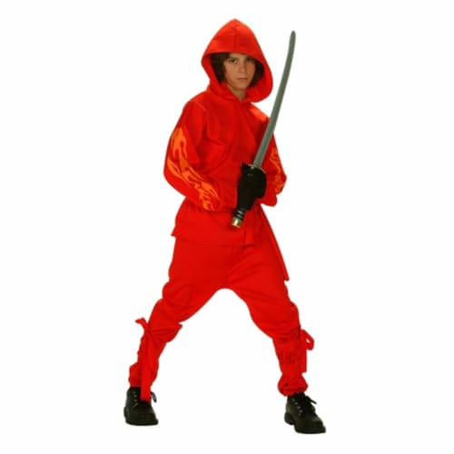 RG Costumes 90192-L Flaming Ninja Glow Costume - Size Child-Large Perspective: front