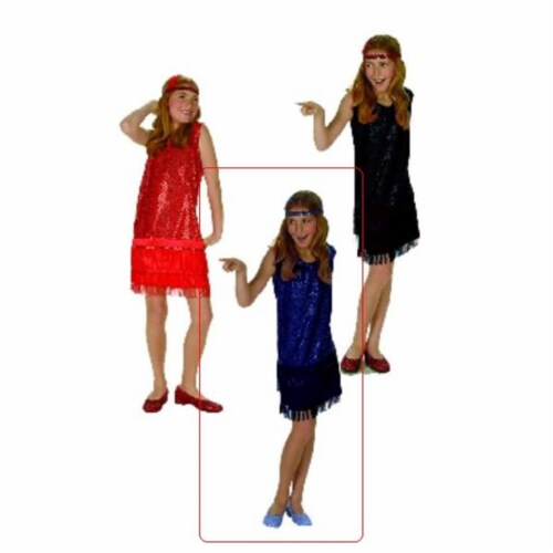 RG Costumes 91148-BL-L Blue Sequin Flapper Costume - Size Child-Large Perspective: front