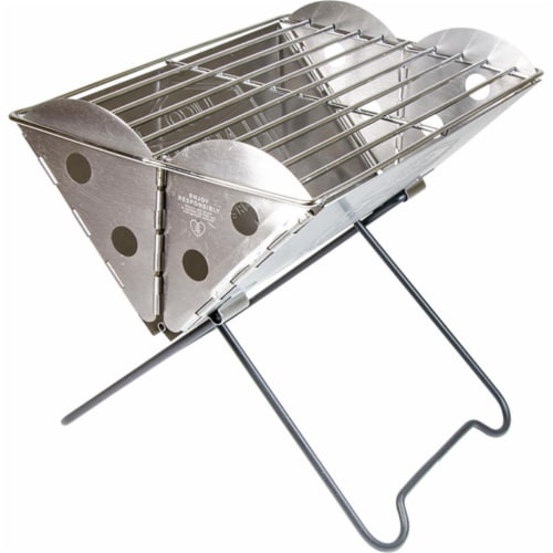 UCO 118388 Flatpack Mini Portable Stainless Steel Grill & Fire Pit Perspective: front