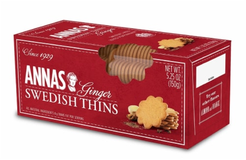 Anna's Swedish Ginger Thins Cookies Perspective: front