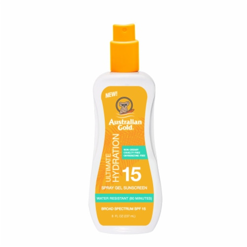 Australian Gold Ultimate Hydration Spray Gel Sunscreen SPF 15 Perspective: front