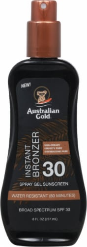 Australian Gold Instant Bronzer Spray Gel Sunscreen SPF 30 Perspective: front