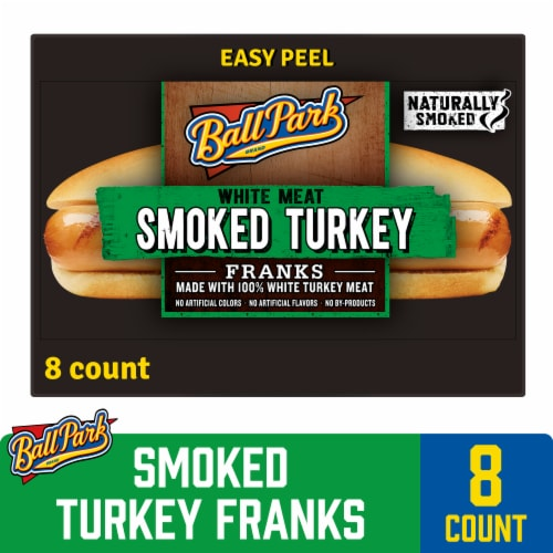Ball Park Smoked White Meat Turkey Hot Dogs Perspective: front