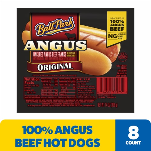 Ball Park Angus Beef Hot Dogs Original Length Perspective: front