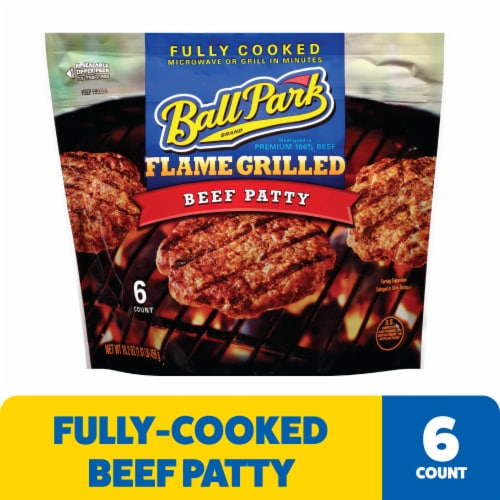 Ball Park® Flame Grilled Fully Cooked Beef Patties Perspective: front
