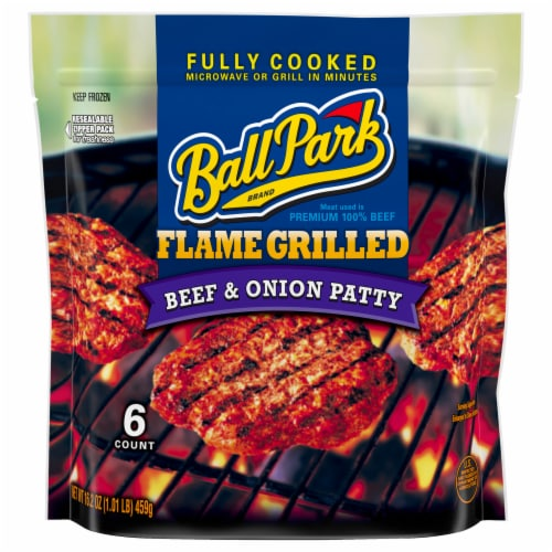 Ball Park Flame Grilled Beef & Onion Patties Perspective: front