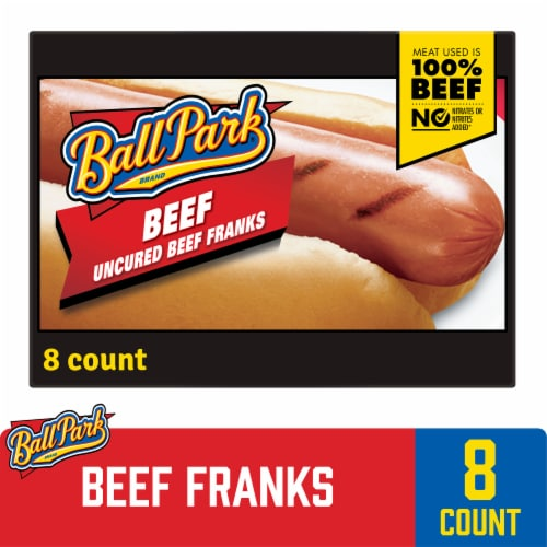 Ball Park Beef Hot Dogs Original Length Perspective: front