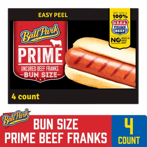 Ball Park Prime Beef Hot Dogs Bun Size Length 4 Count Perspective: front