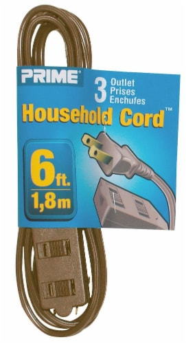 Prime 3-Outlet Household Extension Cord - Brown Perspective: front