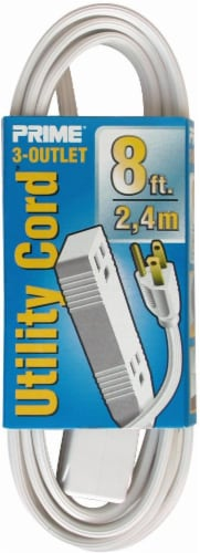 Prime 3-Outlet Utility Extension Cord - White Perspective: front