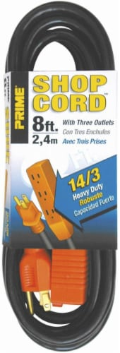 Prime 3-Outlet 14/3 Shop and Utility Extension Cord - Black/Orange Perspective: front