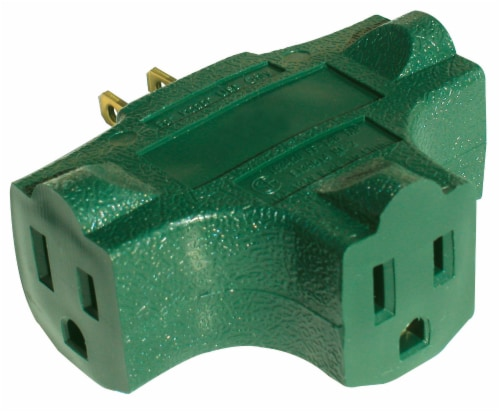 Prime 3-Outlet 90° Power Block Adapter - Green Perspective: front