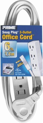 Prime Snug Plug Low-Profile Office Extension Cord - 6 Foot Perspective: front