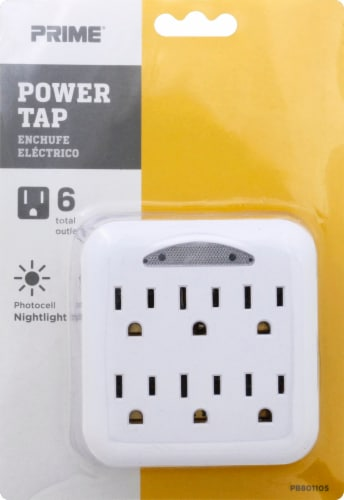 Prime 6-Outlet Power Tap with Photocell Nightlight and Outlet Covers - White Perspective: front