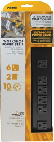 Prime 6-Outlet Metal Power Strip - Black Perspective: front