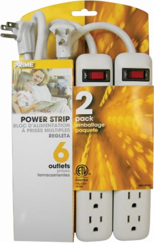 Prime 6-Outlet Power Strip - 2 pk - White Perspective: front