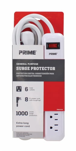 Prime General Purpose 6-Outlet Surge Protector - White Perspective: front