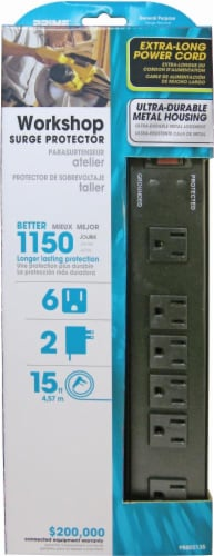 Prime 6-Outlet Metal Surge Protector - 1150 Joule - 15 Foot - Black Perspective: front