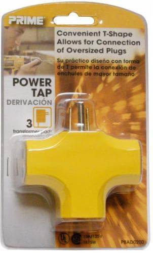 Prime Wire & Cable 3-Outlet 90 Degree Power Adapter - Yellow Perspective: front