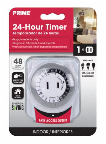 Prime 24-Hour Electromechanical Timer - White Perspective: front