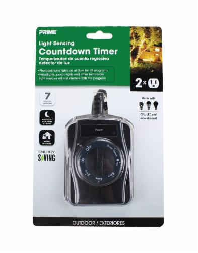 Prime Outdoor Thumbdial Countdown Timer 2 Outlet Cord Perspective: front