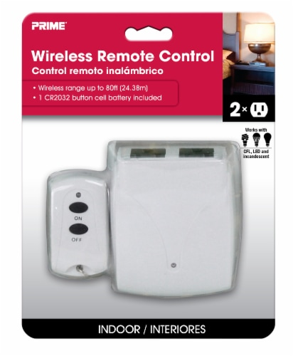 Prime 2-Outlet Wireless Remote Control - White Perspective: front