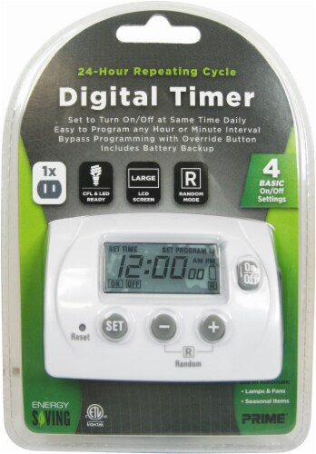 Prime 1-Outlet Digital 24-Hour Timer - White Perspective: front
