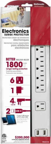 Prime 6-Outlet Electronics Surge Protector - White Perspective: front