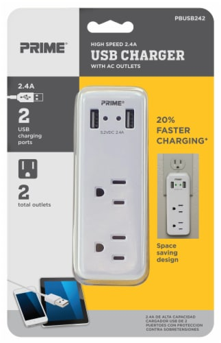 Prime High-Speed 2.4A USB Charger with 2 AC Outlets - White Perspective: front