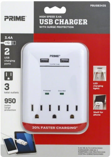 Prime High-Speed 3.4A USB Charger with 3 AC Outlets - White Perspective: front