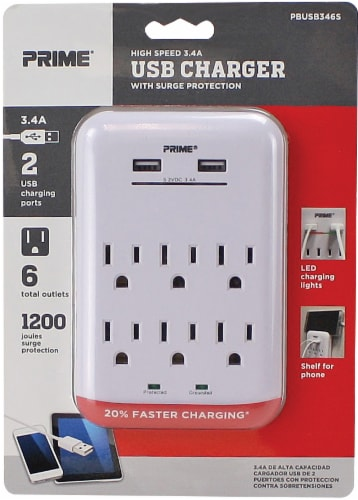 Prime USB Charger and Surge Protector - White Perspective: front