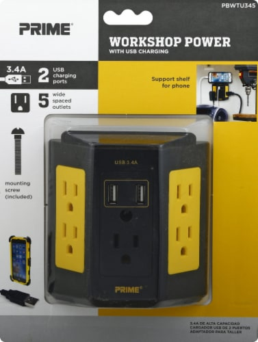 Prime 5 Outlet Workshop Power Charger with 2 USB Ports - Black/Yellow Perspective: front