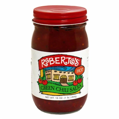 Roberto's Hot Green Chile Salsa Perspective: front
