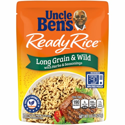 Uncle Ben's Ready Rice Long Grain & Wild Rice Perspective: front