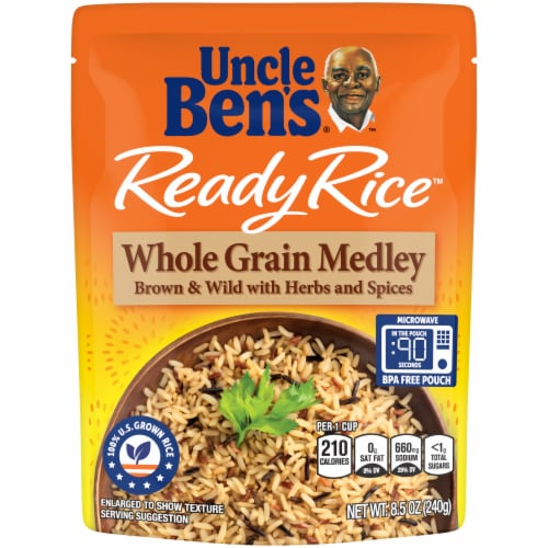 Uncle Ben's Ready Rice Brown & Wild Whole Grain Medley Perspective: front