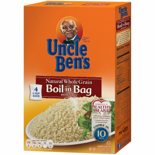 Uncle Ben's Boil-in-Bag Natural Whole Grain Brown Rice Perspective: front