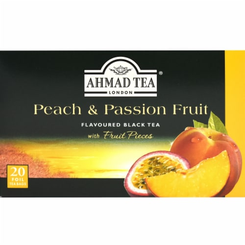 Peach & Passion Fruit Flavoured Black Tea Bags Perspective: front