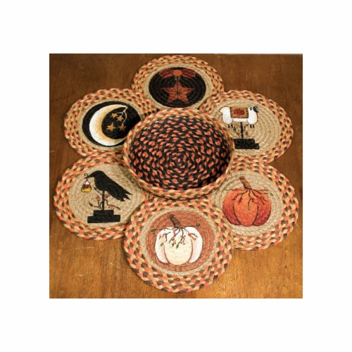 Capitol Importing Autumn - Set of 7 Trivets in a Basket Perspective: front