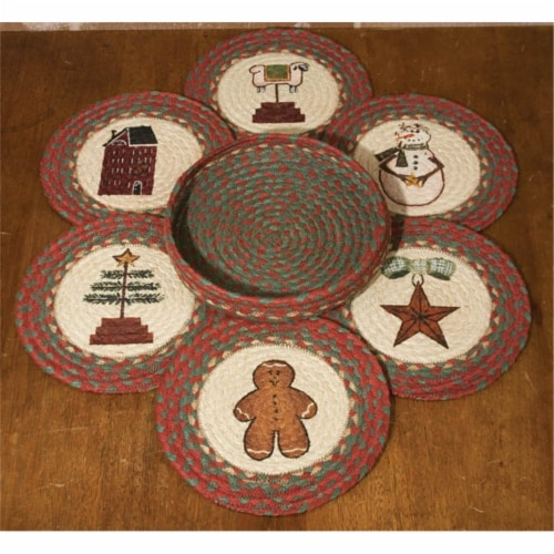 Capitol Importing Winter - Set of 7 Trivets in a Basket Perspective: front