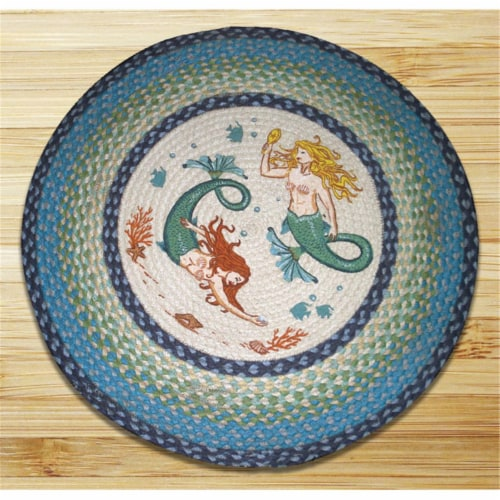 Earth Rugs 66-386M Mermaids Round Patch Perspective: front