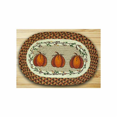 Earth Rugs 48-222HP Oval Shaped Placemat, Harvest Pumpkin Perspective: front